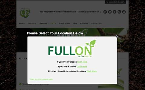 Screenshot of FAQ Page growswitch.com - FULL ON FAQ's - captured Feb. 2, 2016