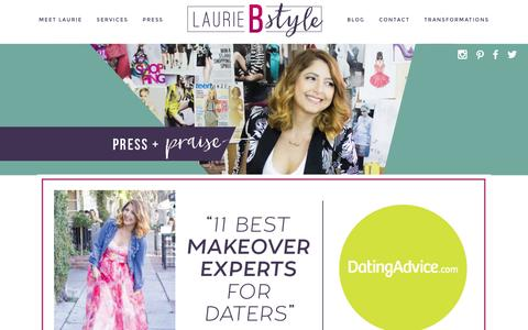 Screenshot of Press Page lauriebstyle.com - Laurie Brucker In the News and Press » LaurieBstyle | Laurie Brucker, Los Angeles Image Consultant, Fashion Consultant, Personal Stylist - captured Jan. 26, 2016