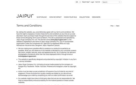 JAIPUR Rugs Terms & Conditions