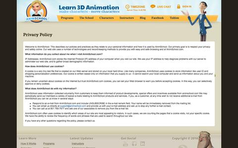 Screenshot of Privacy Page animschool.com - Privacy Policy - AnimSchool - captured July 25, 2016