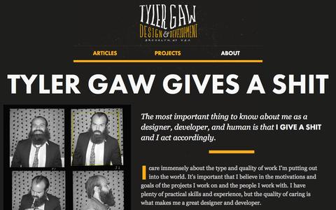 Screenshot of About Page tylergaw.com - About Tyler Gaw and This Site - captured Nov. 2, 2014