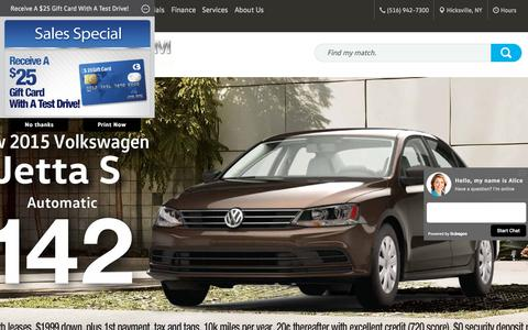 Screenshot of Home Page platinumvw.com - Volkswagen Dealership Hicksville NY Pre-Owned Cars Platinum Volkswagen - captured Sept. 19, 2015