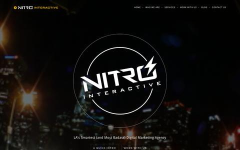 Screenshot of Home Page nitrointeractive.com - Nitro Interactive | LA's Smartest (and Most Badass) Digital Marketing Agency - captured March 9, 2016