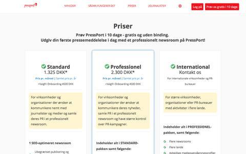 Screenshot of Pricing Page pressport.com - Priser - captured Sept. 19, 2018