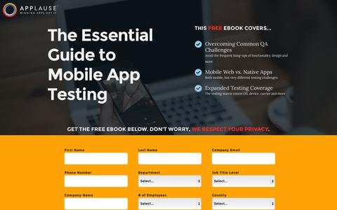 Screenshot of Landing Page applause.com - Mobile App Testing Guide - Applause: 360° App Quality - captured Oct. 27, 2014