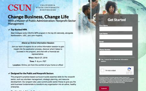 Screenshot of Landing Page csun.edu - Master of Public Administration: Nonprofit Sector Management - captured March 14, 2018