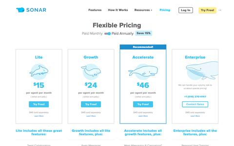 Screenshot of Pricing Page sendsonar.com - Sonar | Pricing: Business SMS & FB Messaging at Affordable Rates - captured April 12, 2016