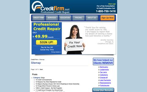 Screenshot of Site Map Page creditfirm.net - Sitemap : CreditFirm.net | Credit Repair Service : Credit Firm - captured Sept. 30, 2018