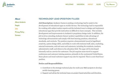 Screenshot of Jobs Page andamiogames.com - Jobs — Andamio Games - captured May 30, 2017