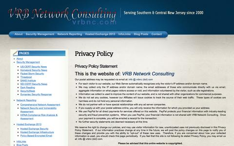 Screenshot of Privacy Page vrbnc.com - VRB Network Consulting Privacy Policy VRB Network Consulting - captured Feb. 15, 2016