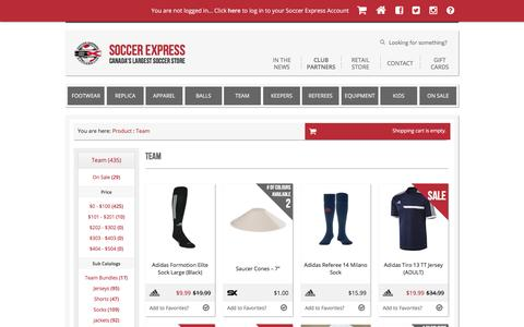 Screenshot of Team Page canadas-largest-soccer-store.com - Team | Soccer Express | Canada's Largest Soccer Store - captured March 6, 2016