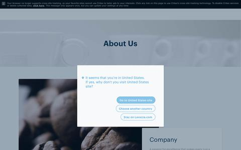Screenshot of About Page lavazza.com - About Us: Company, Nuvola, Training and Innovation Centre | Lavazza - captured Aug. 2, 2018