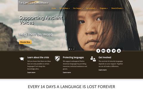 Screenshot of Home Page languageconservancy.org - The Language Conservancy  Home - The Language Conservancy - captured Oct. 8, 2014