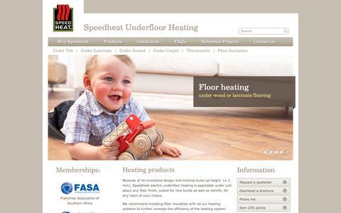 Screenshot of Products Page speedheat.co.za - Heating products | Speedheat underfloor heating - captured Oct. 18, 2018