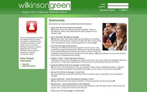 Screenshot of Testimonials Page wilkinsongreen.co.uk - Testimonials | Wilkinson Green - captured Dec. 22, 2016