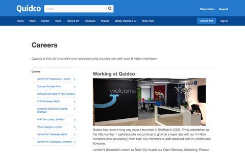 Screenshot of Jobs Page quidco.com - Careers | Quidco - captured Aug. 5, 2016