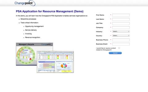 Screenshot of Landing Page changepoint.com - PSA Software for Resource Management (Demo) - captured Oct. 27, 2014
