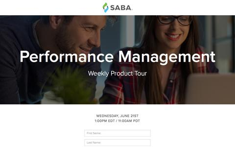 Screenshot of Signup Page saba.com - Product Tour - Performance Management - captured June 9, 2017