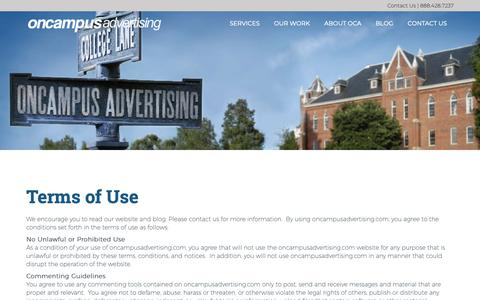Screenshot of Terms Page oncampusadvertising.com - Terms of Use - OnCampus Advertising | OnCampus Advertising - captured Oct. 20, 2018