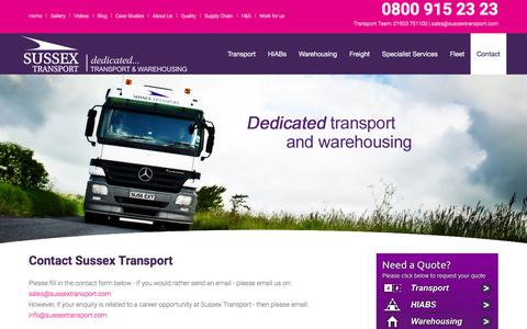 Screenshot of Contact Page sussextransport.com - Contact - captured Jan. 12, 2016