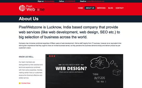 Screenshot of About Page pixelwebzone.com - About Pixel Webzone- India based company that provide web services - captured Nov. 2, 2014