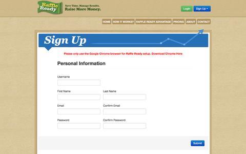 Screenshot of Signup Page raffleready.com - Sign Up | Online Fundraising | Raise & Manage Money | Raffle Ready - captured Jan. 10, 2016