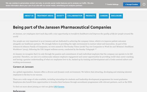 Screenshot of Jobs Page janssen.com - Being part of Janssen | Janssen UK - captured Oct. 21, 2018