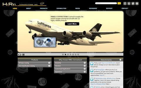 Screenshot of Home Page hirelco.net - Hi-Rel Connectors - captured Oct. 2, 2014