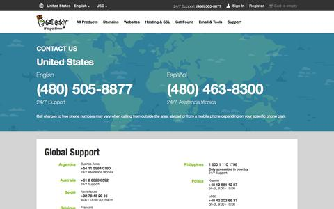 Screenshot of Contact Page godaddy.com - GoDaddy Global Support | Contact Us – GoDaddy - captured Oct. 28, 2014