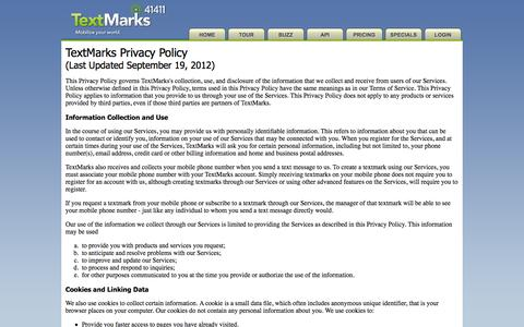 Screenshot of Privacy Page textmarks.com - Privacy Policy | TextMarks | SMS and Text Alerts Made Easy | SMS API - captured Sept. 23, 2014