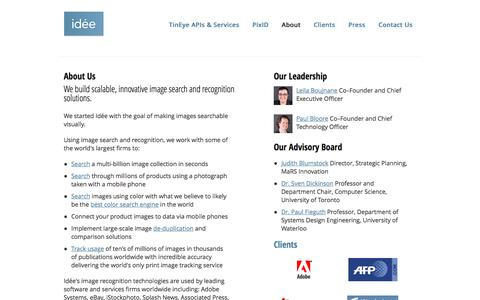 Screenshot of About Page ideeinc.com - About - Idée Inc. - The image search and recognition company - captured March 17, 2016