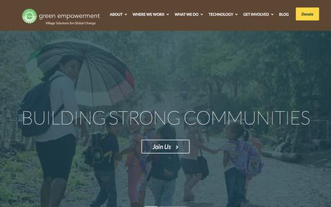 Screenshot of Home Page greenempowerment.org - Green Empowerment | Green Empowerment works with local partners around the world to strengthen communities by delivering renewable energy and safe water. - captured Dec. 14, 2015
