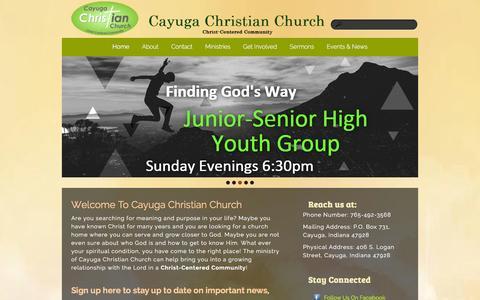 Screenshot of Home Page cayugachristian.org - Cayuga Christian Church - captured Jan. 26, 2016
