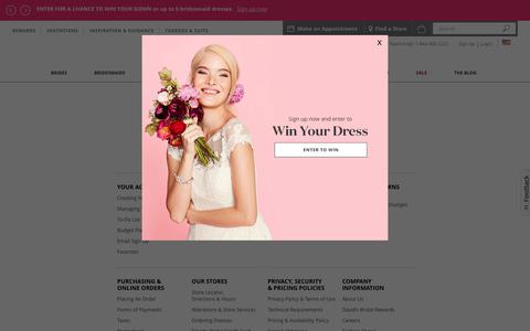 Screenshot of Support Page davidsbridal.com - David's Bridal Help - captured June 9, 2018