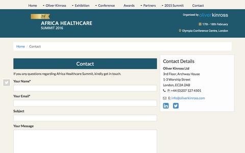Screenshot of Contact Page africahealthcaresummit.com - Africa Healthcare Summit 2016 - captured March 24, 2016