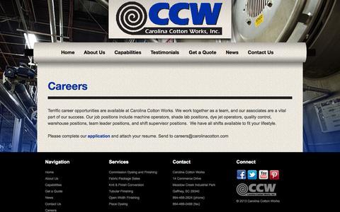 Screenshot of Jobs Page carolinacotton.com - Careers - Carolina Cotton Works - captured Oct. 2, 2014