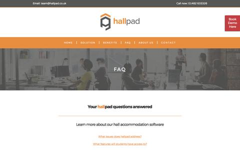 Screenshot of FAQ Page hallpad.co.uk - Frequently Asked Questions - Hallpad - captured May 14, 2017