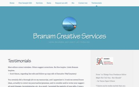 Screenshot of Testimonials Page branam-creative-svcs.com - Testimonials | Branam Creative Services - captured Nov. 23, 2016