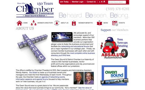 Screenshot of About Page oschamber.com - Owen Sound Chamber of Commerce - About Us - captured Oct. 26, 2014