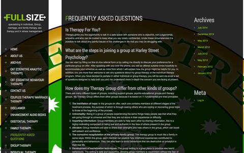 Screenshot of FAQ Page harleystreetpsychology.com - Frequently Asked Questions | Harley Street Psychology - captured Oct. 2, 2014