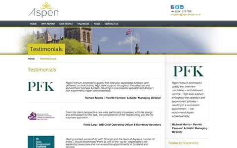 Screenshot of Testimonials Page aspenpeople.co.uk - Aspen People Ltd | Testimonials - Aspen People Ltd - working in partnership with a broad range of private and public sector organisations helping them attract the highest calibre individuals - captured Oct. 4, 2014