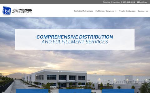 Screenshot of Home Page daserv.com - Distribution Alternatives, Comprehensive Distribution & Fulfillment Services - captured Oct. 9, 2018