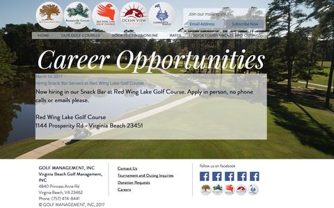 Screenshot of Jobs Page golfvb.com - Home Virginia Beach Norfolk Virginia GOLFVB.com | CAREERS - captured April 8, 2017