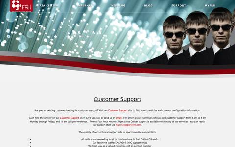 Screenshot of Support Page frii.com - Customer Support  |  frii.com - captured Nov. 25, 2016