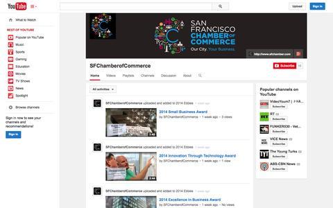 Screenshot of YouTube Page youtube.com - SFChamberofCommerce  - YouTube - captured Oct. 23, 2014