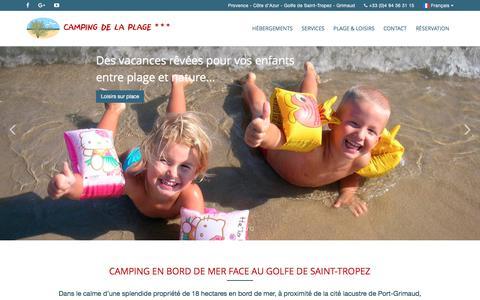 Screenshot of Home Page camping-de-la-plage.fr - Camping de la Plage à Grimaud dans le Var - captured March 21, 2017