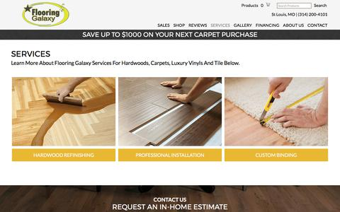 Screenshot of Services Page flooringgalaxy.com - Services - Flooring Galaxy - St Louis, MO. - captured June 6, 2017