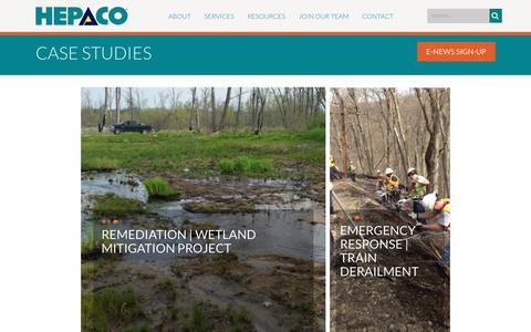 Screenshot of Case Studies Page hepaco.com - HEPACO > About > Case Studies - captured July 12, 2019