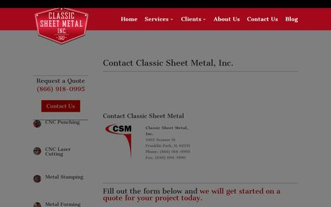 Screenshot of Contact Page classic-sheet-metal.com - Contact Us or Request a Quote from Classic Sheet Metal - captured Jan. 28, 2016