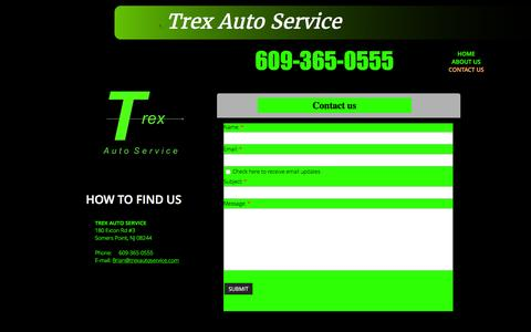 Screenshot of Contact Page trexautoservice.com - Contact Us - captured Feb. 22, 2016